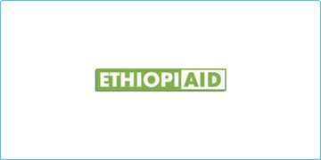 The Ethiopiaid logo, with the 'ethopi' text being white on a green background and the 'aid' text being inverted of the first